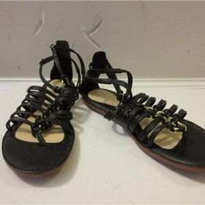 COACH BLACK STRAPPY LEATHER SANDAL 6